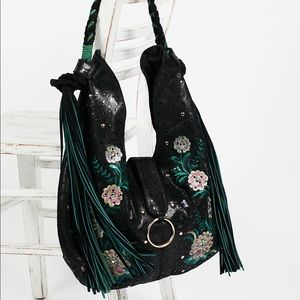 New Free People Monarch Embroidered Hobo Bag